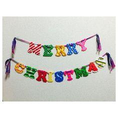 Merry Christmas garland perler beads by cheer_up8k - Pattern: http://www.pinterest.com/pin/374291419006279247/