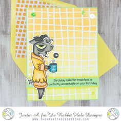 This project use the Caffeinated- Goat set and Sassy Birthday 1 set by the Rabbit Hole Designs. This project also uses the Wavy Grid stencil by Altenew. Follow me on Instagram @justanotebyjustin for more details on this project and more inspiration!