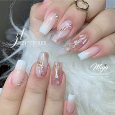 Colored Acrylic Nails, Blue Glitter Nails, Bling Acrylic Nails, Acrylic Nails Coffin Short, Best Acrylic Nails, Pink Nails, Acrylic Nail Art, Classy Nail Designs, Cute Acrylic Nail Designs