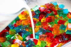 Glass Block Holiday Jello {Festive!} one of the coolest ideas i have seen for jello! Last step it Knox plain jello and condensed milk!