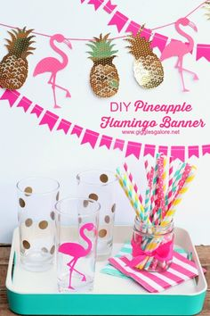 Make this easy DIY Pineapple Flamingo Banner for a festive tropical summer party.