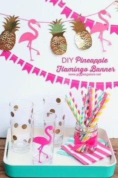 DIY Pineapple Flamingo Banner_Giggles Galore