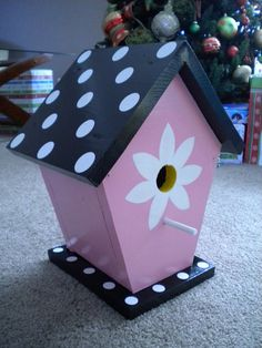 Colorful painted birdhouse by TheTurkeyLurkey on Etsy, $40.00