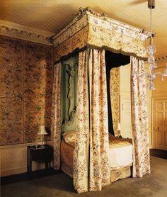 Houghton Hall, Painted Taffeta Bed Hangings circa 1745.