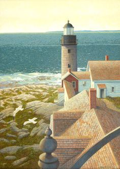 Maine's Matinicus Rock Lighthouse looks over the blue waters of the Atlantic on the cover of our Fall 2015 catalog, in a beautiful painting by local artist Loretta Krupinski.  View more of Loretta's artwork at the Camden Falls Gallery website: http://www.camdenfallsgallery.com/artists/about-loretta-krupinski