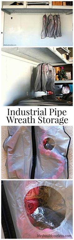 Industrial Pipe Wreath Storage. Storing them this way makes them last much longer (saving you money) and it uses dead space in the garage! |LIFE SHOULD COST LESS