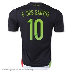 31c651771 Mexico National Team 2015 G. DOS SANTOS  10 Away Soccer Jersey  C331 ...