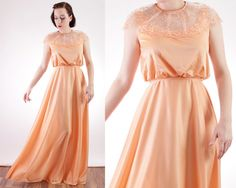 70s Peach sherbert belted maxi gown with lace detail by BGSvintage