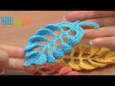 ▶ Вязание листика крючком Урок 28 часть 1 из 2 Великолепный объемный листочек - YouTube