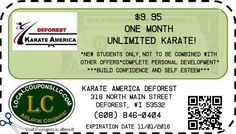 Coupon in Deforest WI for KARATE AMERICA DEFOREST from Local Coupons LLC.