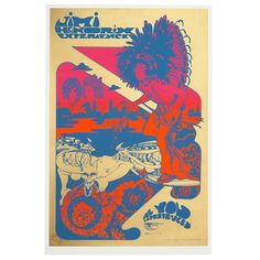 A Jimi Hendrix Experience Psychedelic screenprinted concert poster. Designed by UK artists Michael English and Nigel Weymouth aka Hapshash and The Coloured Coat for the Filmore Auditorium NYC event held between - June. To the top left of the imag The Filmore, Noel Redding, Mitch Mitchell, Peace Pipe, Jimi Hendrix Experience, Concert Posters, Art For Sale, Psychedelic, Screen Printing