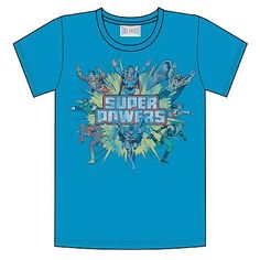 DC Comics Super Powers Turquoise T-Shirt - Junk Food Clothing - DC Comics - T-Shirts at Entertainment Earth