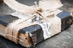In stead of a pillow the ring bearer brought the rings down the isle tied to the bible.