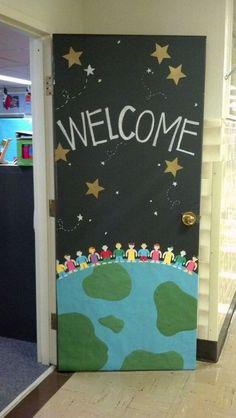 Class decoration, classroom displays, art classroom door, welcome door Space Theme Classroom, Classroom Bulletin Boards, Classroom Setting, Classroom Design, Classroom Displays, Preschool Classroom, Art Classroom, World Bulletin Board, Classroom Ideas