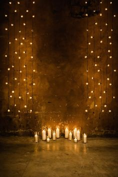 bistro lights + candles for a simple, yet romantic indoor wedding