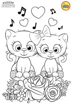 Cuties Coloring Pages for Kids - Free Preschool Printables - Slatkice Bojanke - Cute Animal Coloring Books by BonTon TV Farm Animal Coloring Pages, Cat Coloring Page, Cool Coloring Pages, Adult Coloring Pages, Coloring Books, Free Printable Coloring Sheets, Coloring Sheets For Kids, Free Preschool, Preschool Printables