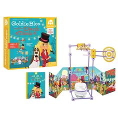 In GoldieBlox and the Dunk Tank, Goldie has to find a way to get Nacho clean. As kids read along, they help Goldie build a dunk tank to get Nacho clean so everyone can go to the carnival on time. Dunk Tank, Engineering Toys For Girls, Thing 1, Kids Reading, Toy Store, New Toys, Educational Toys, Problem Solving, Kids Toys