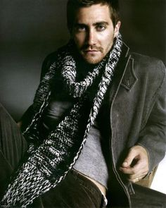 Jake Gyllenhaal in Russian GQ wearing a knit scarf made from boyfriend material