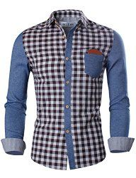 Tom's Ware Mens Trendy Slim Fit Two-Toned Checkered Long Sleeve Collar Shirt - Join The Klub