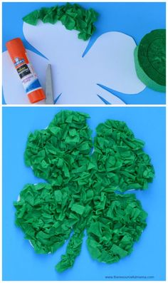 FREE TEACHING IDEA Crepe paper St. Patrick's Day craft for kids. Free shamrock template.