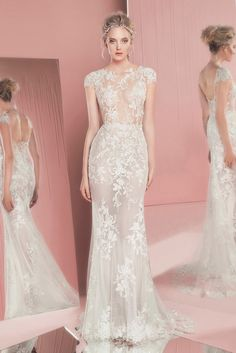 zuhair murad spring summer 2016 bridal jewel neckline cap sleeves lace embroidery white sheath wedding dress perla