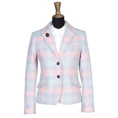 Windsor & Wales SWAN tweed jacket. Individually handcut and made in London from handwoven Isle of Man tweed and lined in our signature hand-illustrated cherry blossom lining.