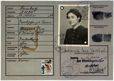 """Identity card (Deutsches Reich Kennkarte) issued to Margarete Sara Jacobsohn and stamped with a red letter J for """"Jude"""" (Jew).  Insterburg (East Prussia), Germany. In October 1934  was remarried to Erich Jacobsohn and the family moved to Bamberg. The Jacobsohns set sail aboard the SS St. Louis on May 13, 1939. When the ship was forced to return to Europe, the family was given refuge in Holland."""