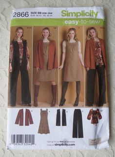 Simplicity 2866 Sewing Pattern Coordinates, Jacket, Dress, Top, Vest & Pants, Size BB 20W-28W OOP 2008