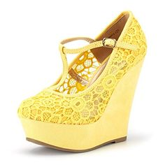 7af3b4c7cd71f4 DREAM PAIRS Women s Wedge-Height-l Yellow Lace Crochet Mary-Jane T-Strap  Wedge Platform Pumps Shoes Size 8 B(M) US