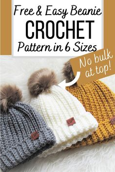 Beanie Pattern Free, Crochet Beanie Pattern, Easy Crochet Hat Patterns, Beanie Knitting Patterns Free, Crochet Baby Beanie, Afghan Crochet, Blanket Patterns, Crochet Hat Size Chart, Crochet Toddler Hat