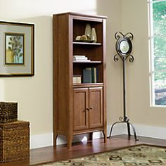 Sauder Appleton Library Bookcase With Doors 5 Shelves 72 H x 31 W x 13 D Sand Pear by Office Depot & OfficeMax