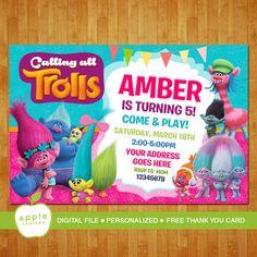 Los trolls invitación partido de Trolls Trolls por AppleInvites