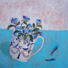 Andrea Letterie, Forget-me-not and blue feather, Gemengde techniek op paneel, 30x30 cm, €.350,-