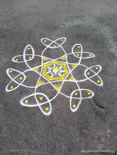 Rangoli Chikku flower rangoli of the day   m.iKolam.com Rangoli Kolam Designs, Indian Rangoli, Kolam Rangoli, Flower Rangoli, Simple Rangoli, Small Rangoli Design, Colorful Rangoli Designs, Beautiful Rangoli Designs, Alpona Design