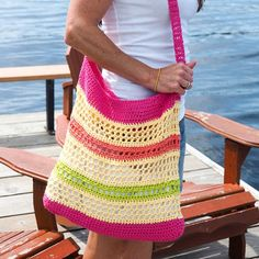 This quick and easy FREE crochet beach tote bag pattern is the perfect size for toting to the farmer's market or the beach this summer.