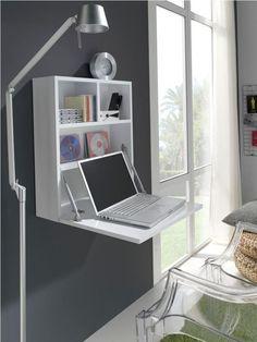 101 Innovative Folding Desk Ideas For Small Space Solution - Arbeitsplatz Folding Desk, Folding Furniture, Space Saving Furniture, Furniture Decor, Furniture Design, Office Interior Design, Home Office Decor, Office Interiors, Home Decor