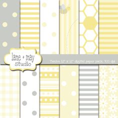 baby bee gray and yellow 2 digital scrapbook papers by laneandmay, $7.00