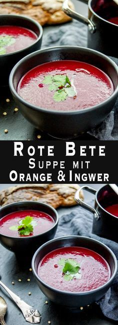 cremige Rote Bete Suppe mit Orange und Ingwer, gesunde einfache Rezept, fettarm, vegan, glutenfrei,