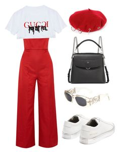 """RED ALWAYS"" by mimiih ❤ liked on Polyvore featuring Emilia Wickstead, Common Projects, Fendi and Versace"