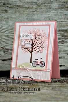 Stampin' Up! ... hand crafted card from nice people STAMP! ... pink and white with chocolate  ... luv the use of woodgrain embossing folder texture on wide background mat ...