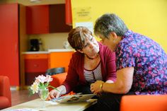 The lounge is an open space where you can have a drink and chat to staff or volunteers