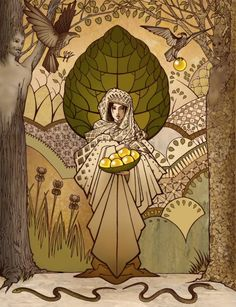 In Norse mythology, Iðunn is a goddess associated with apples and youth.