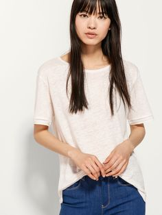 LINEN T-SHIRT WITH INSERTION LACE