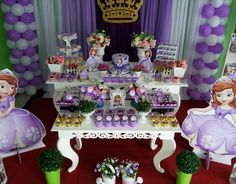 Princess Sofia Birthday, Princesa Sophia, Cakes And More, Balloons, Table Decorations, My Favorite Things, Party, Princess Sofia Party, Parties Decorations