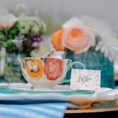 Place cards with names on tea bag, hanging out of tea cup. This is for a bridal shower but the teacup was so cute, I couldn't resist. 31st Birthday, Tea Party Wedding, Cooking Supplies, Afternoon Tea Parties, Spring Party, Bridal Shower, Baby Shower, Easter Cookies, High Tea