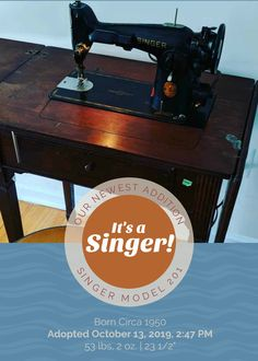 Congratulations to a proud new sewing machine owner! Threads' Digital Content Manager, Christine, brought home this lovely Singer over the weekend. May they have many fruitful and productive hours together! Vintage Sewing Notions, Antique Sewing Machines, Sewing Spaces, Sewing Rooms, Sewing Machine Thread, Needle Book, Tatting Patterns, English Paper Piecing, Vintage Buttons