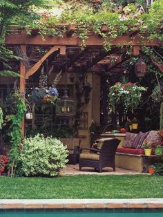 I love all the hanging plants and lanterns, climbing plants, etc.