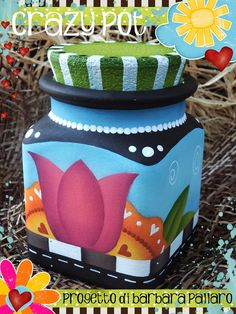 18 Creative Decor Painting On Canvas - Country Paintings, Happy Paintings, Mason Jar Crafts, Bottle Crafts, Decoupage Jars, Clay Flower Pots, Wine Bottle Art, Painted Jars, Country Crafts