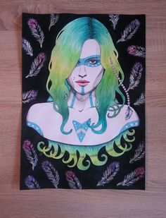 Andreja Pejic, 28,5 cm x 38,5 cm, watercolor pencils, acrylic paint, fineliner, markers  More photos: http://racislawavelrachia.blogspot.com/