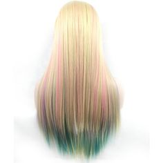 Colorful Gradient Long Straight Hair European And American Cosplay... (190 DKK) ❤ liked on Polyvore featuring costumes, flower costume, rose costume, american halloween costumes, flower halloween costume and cosplay halloween costumes